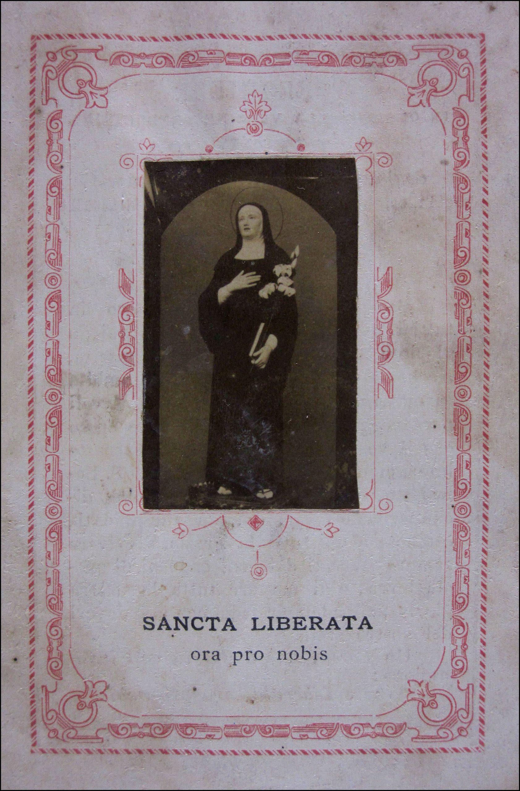 Santino con immagine di santa Liberata di Lognola