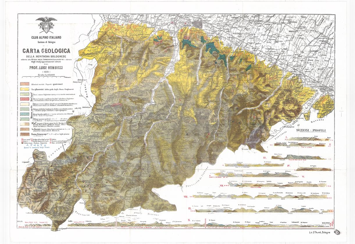 carta geologica della montagna bolognese Bombicci 1881