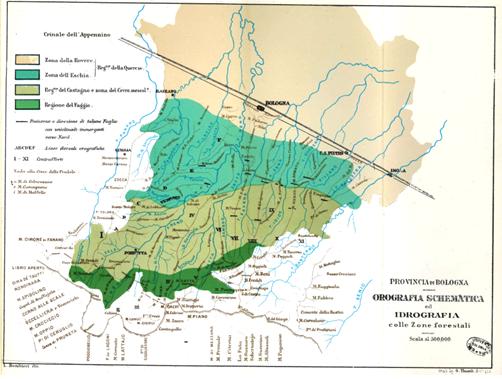 carta orografica con idrografia Bombicci 1882