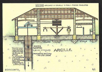 Pozzo maestro Bisano - Sezione con Argano a Cavalli o Muli - Disegno di Claudio Baratta