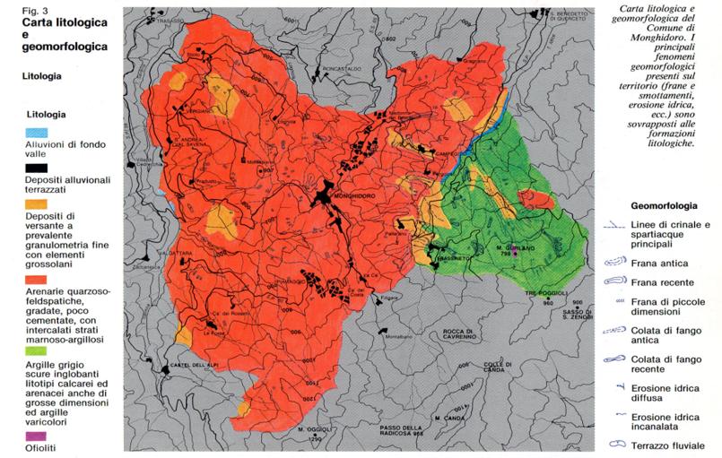 Carta litologica e geomorfologica del Comune Monghidoro