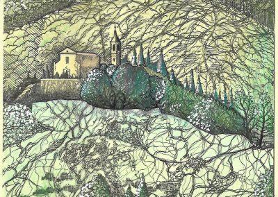 Chiesa San Alessandro a Bisano - Disegno di Claudio Baratta