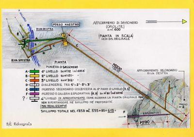 Pianta Miniera di Sassonero - Disegno di Claudio Baratta